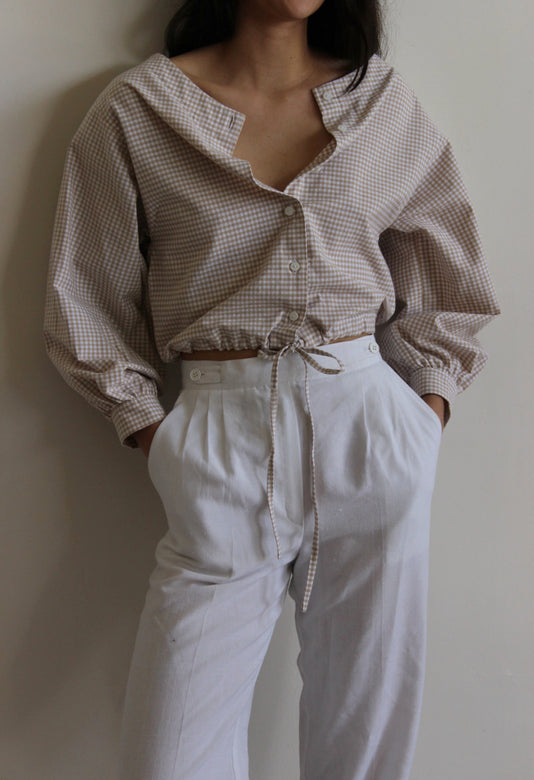 full sleeve drawstring blouse | tan gingham