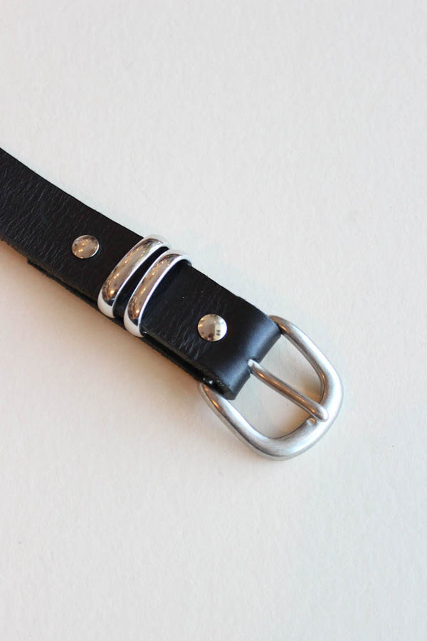 black leather belt - silver double loop