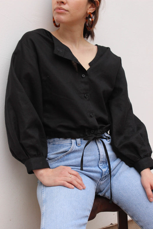 full sleeve drawstring blouse | black