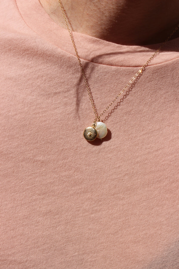 freshwater pearl medallion | small w/ locket