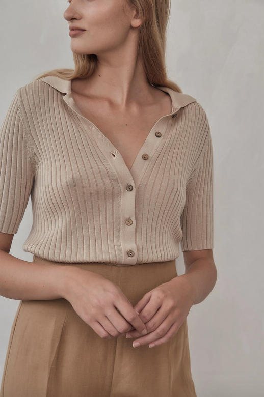 arlo knit shirt | sand