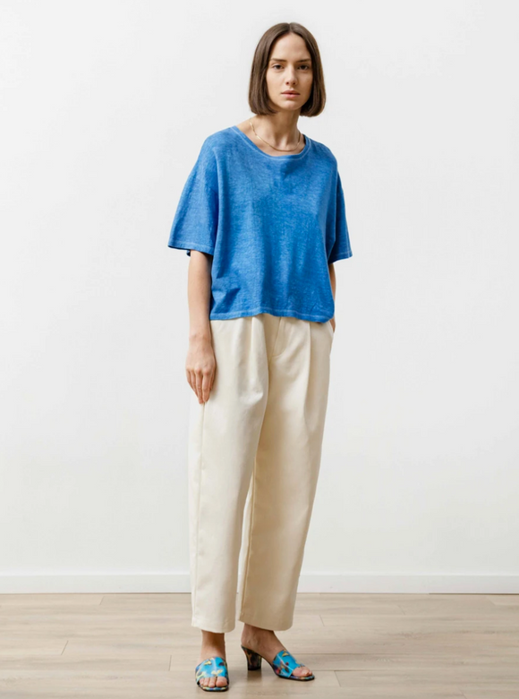 pleat trouser | natural