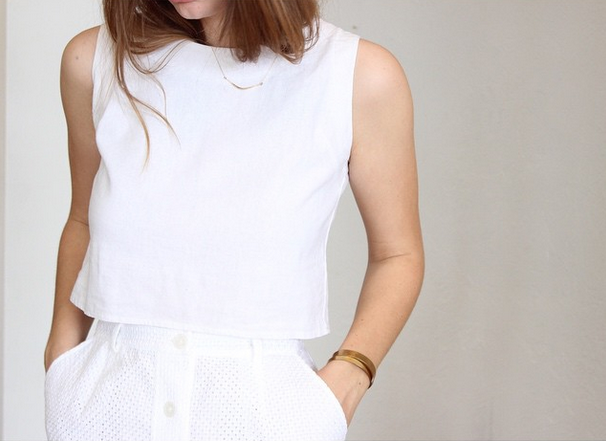 avenue crop top - white