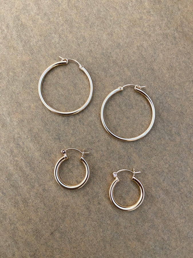 simple gold hoops | small
