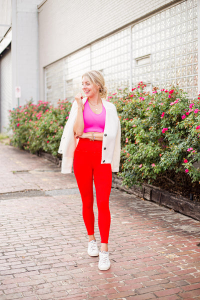 pink and red outfit leggings sweater