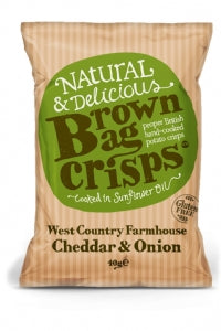 Brown Bag Crisps Cheddar & Onion 150g