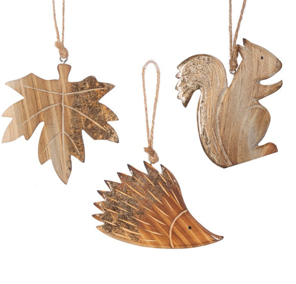 Carved Woodland Decorations Set of 3