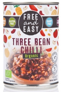 Free And Easy Organic Three Bean Chilli 400g