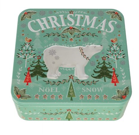Farmhouse Biscuits Christmas Polar Bear Tin  250g