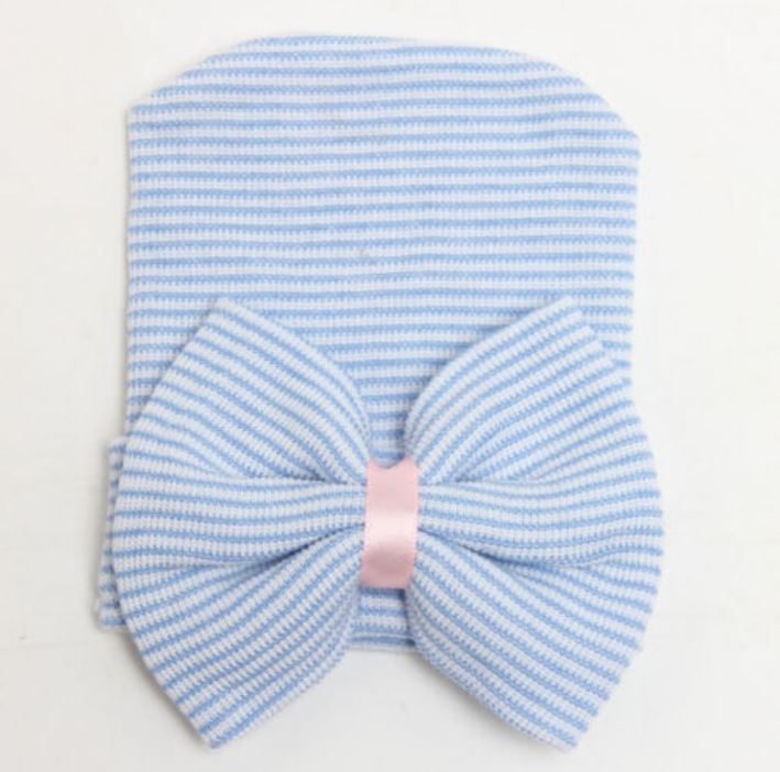 Blue Striped Bow Hat