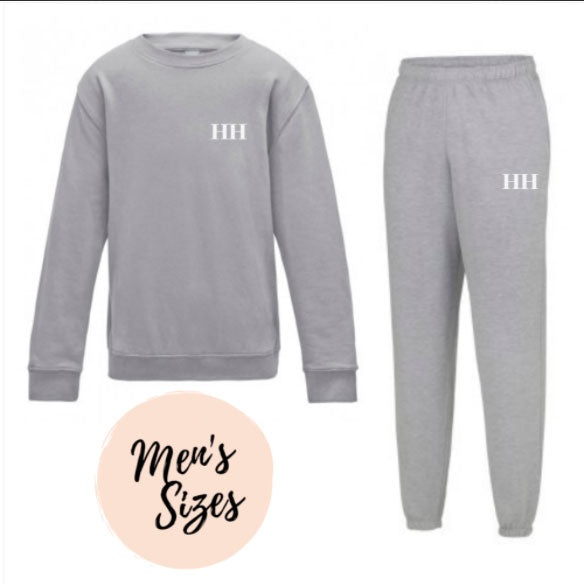 Embroidered Mens Grey Lounge Set