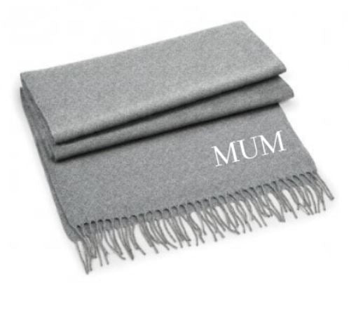 Embroidered Grey Scarf