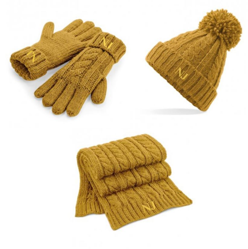 Embroidered Knitted Hat Scarf Glove Set