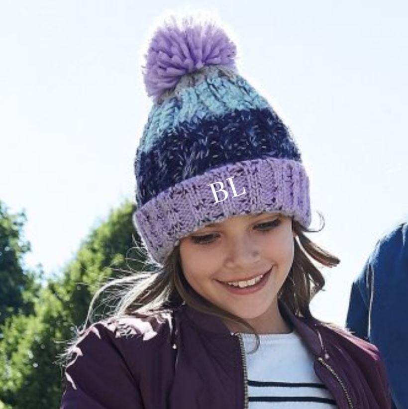 Embroidered Lilac Mix Pom Pom Hat