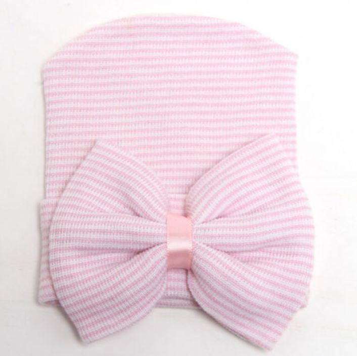 Pink Striped Bow Hat
