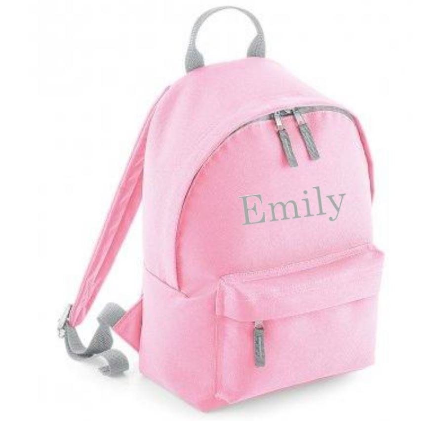 Personalised Pink Grey Mini Backpack