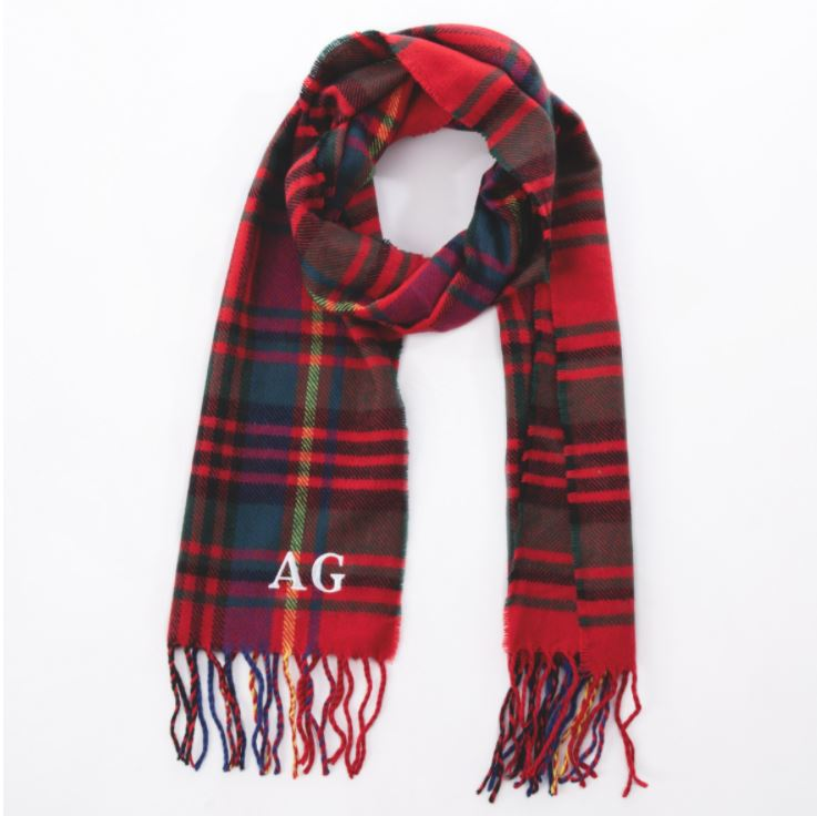 Embroidered Red Check Scarf