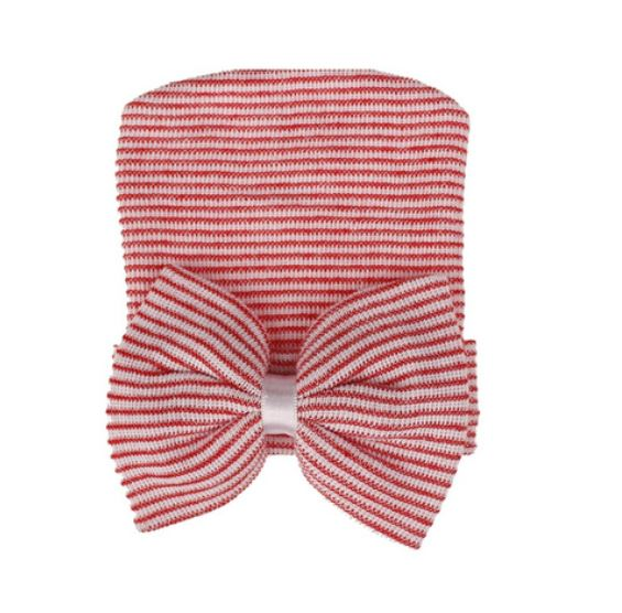 Red Striped Bow Hat