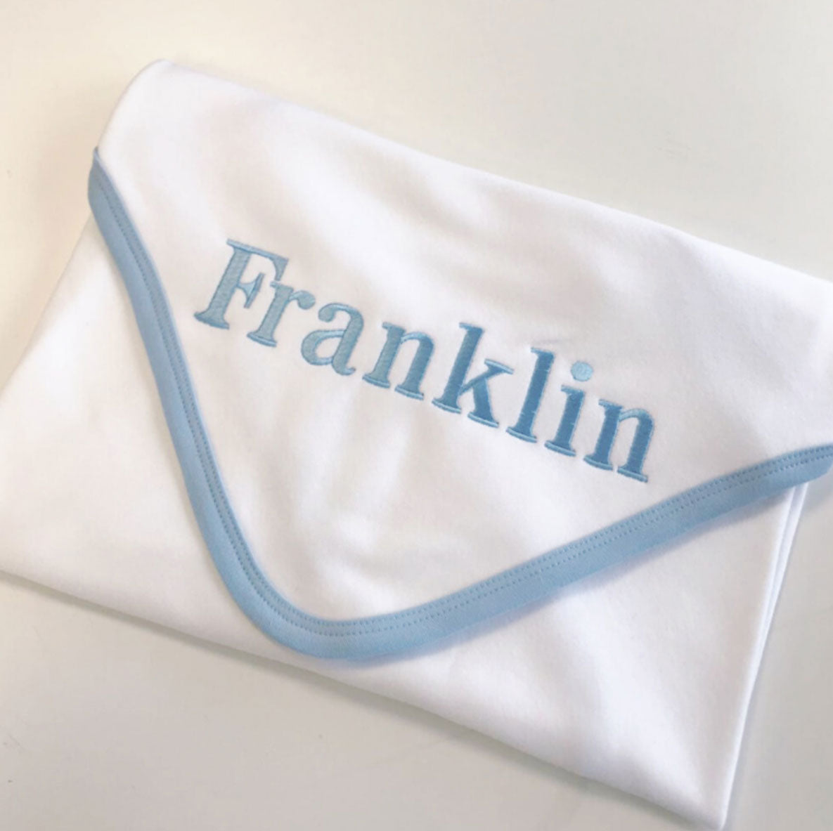 Embroidered Blue White Blanket