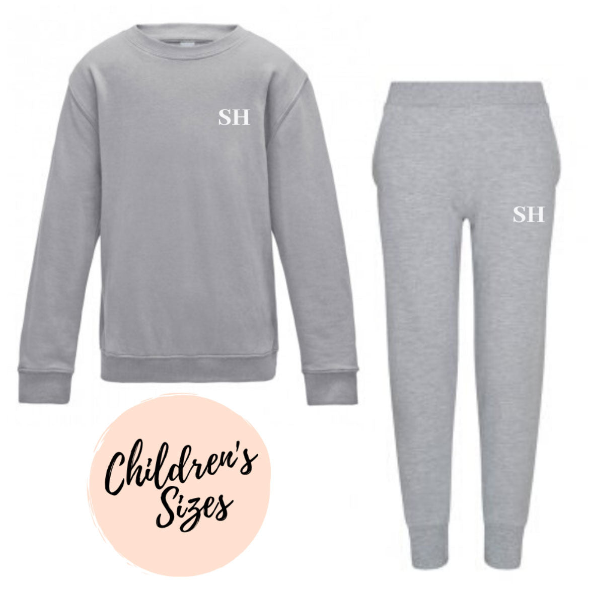 Embroidered Childrens Grey Lounge Set
