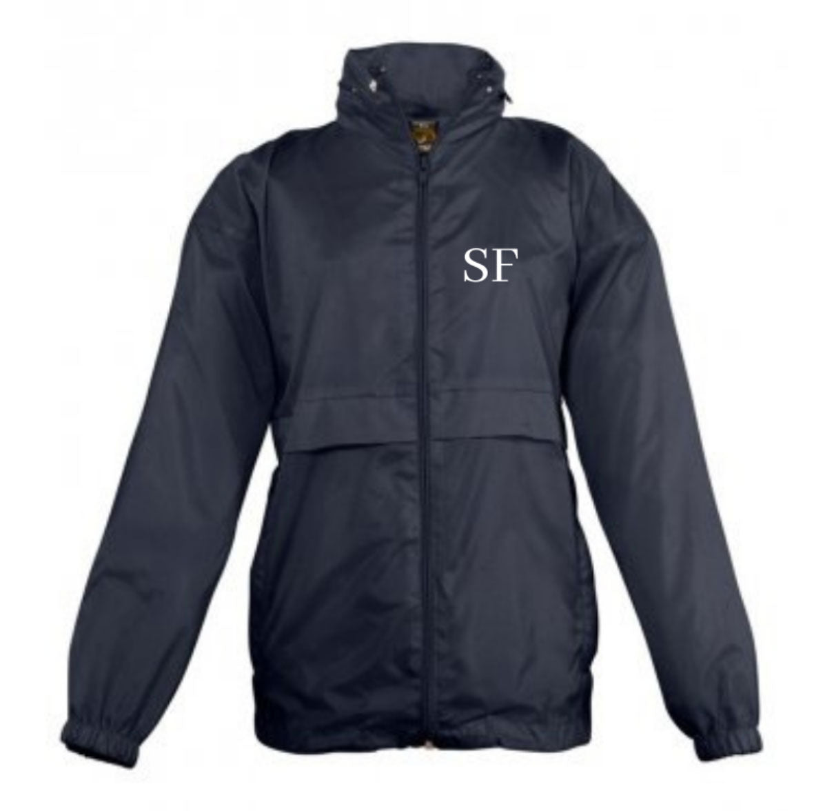 Embroidered Navy Blue Windbreaker Jacket