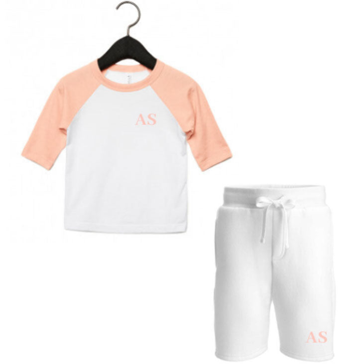 Embroidered Peach White Summer Set