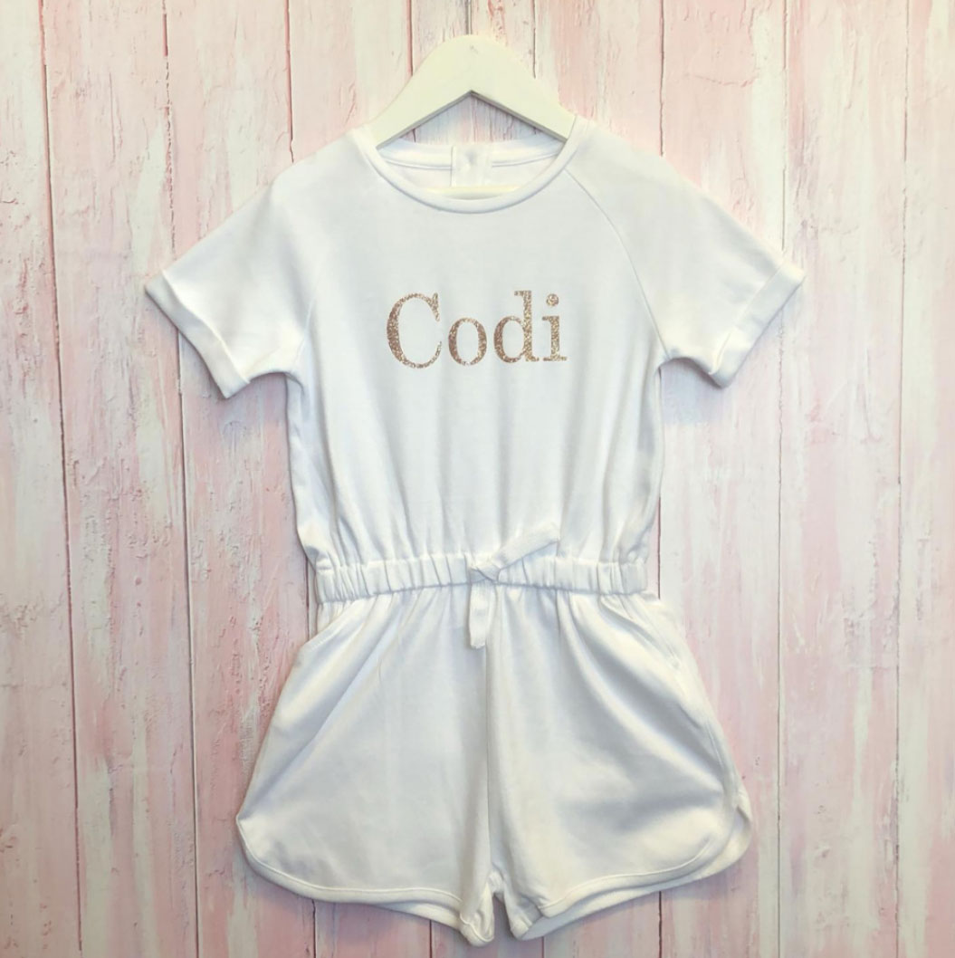Personalised Girls White Playsuit