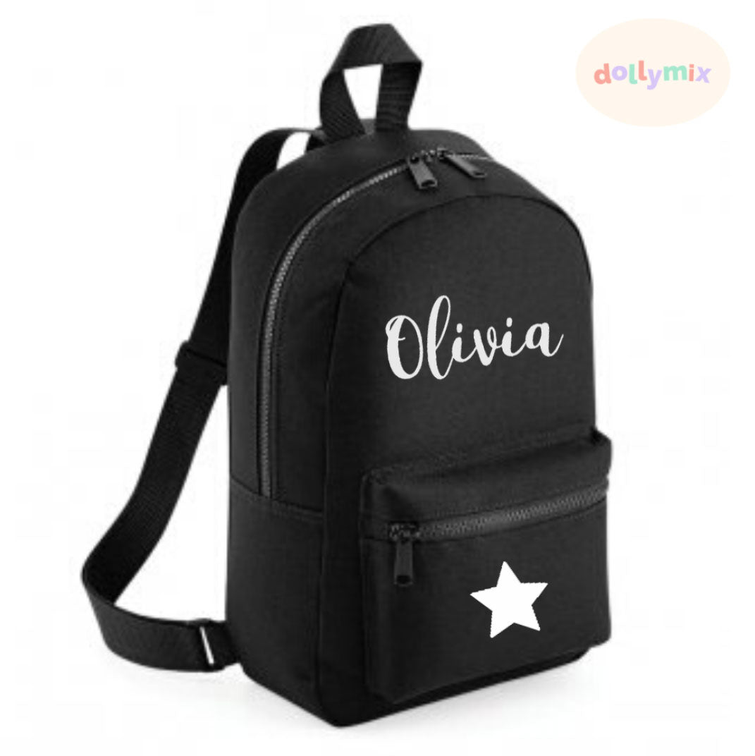 Personalised Mini Black Backpack