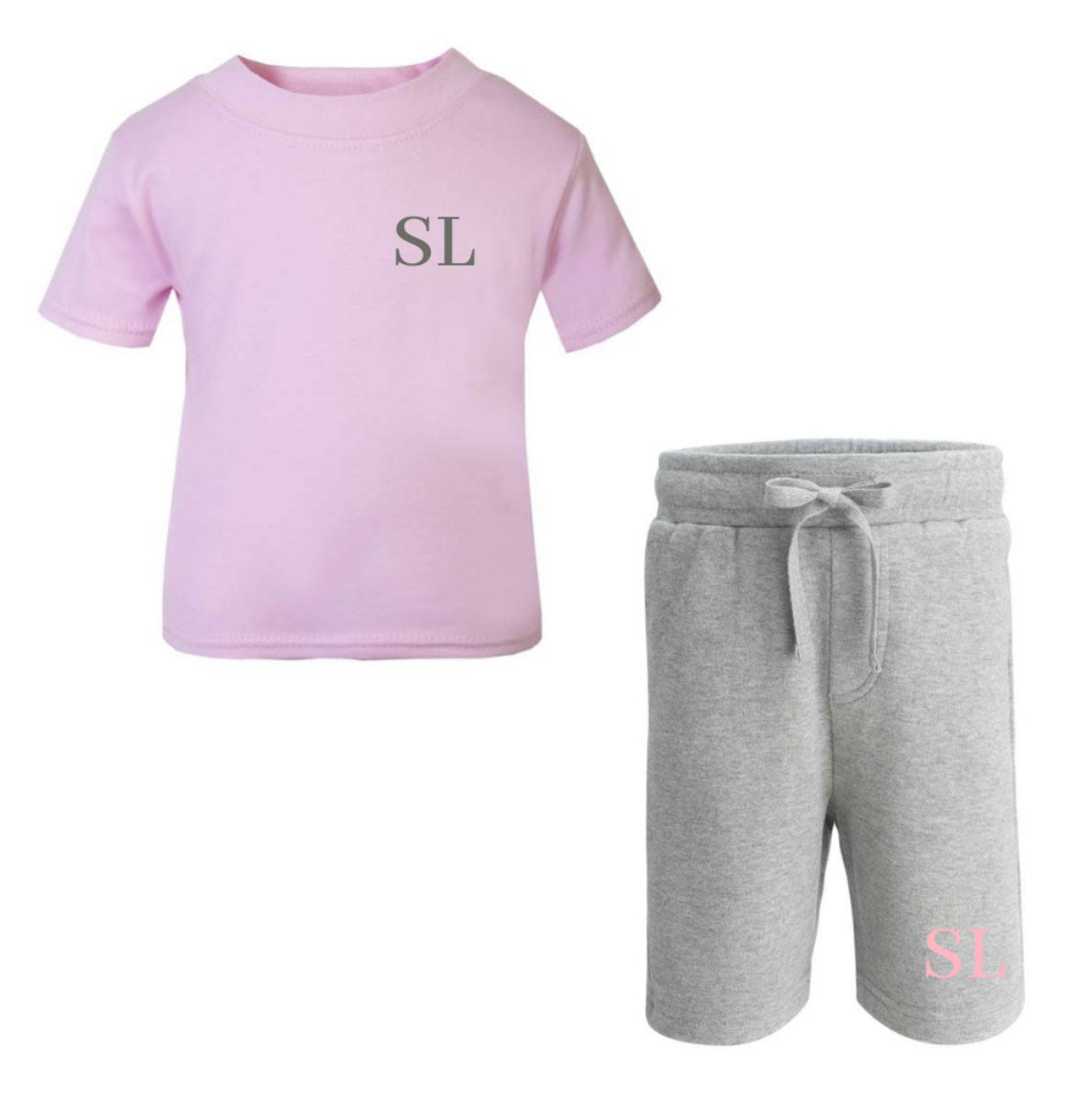 Personalised Pink Grey Summer Set