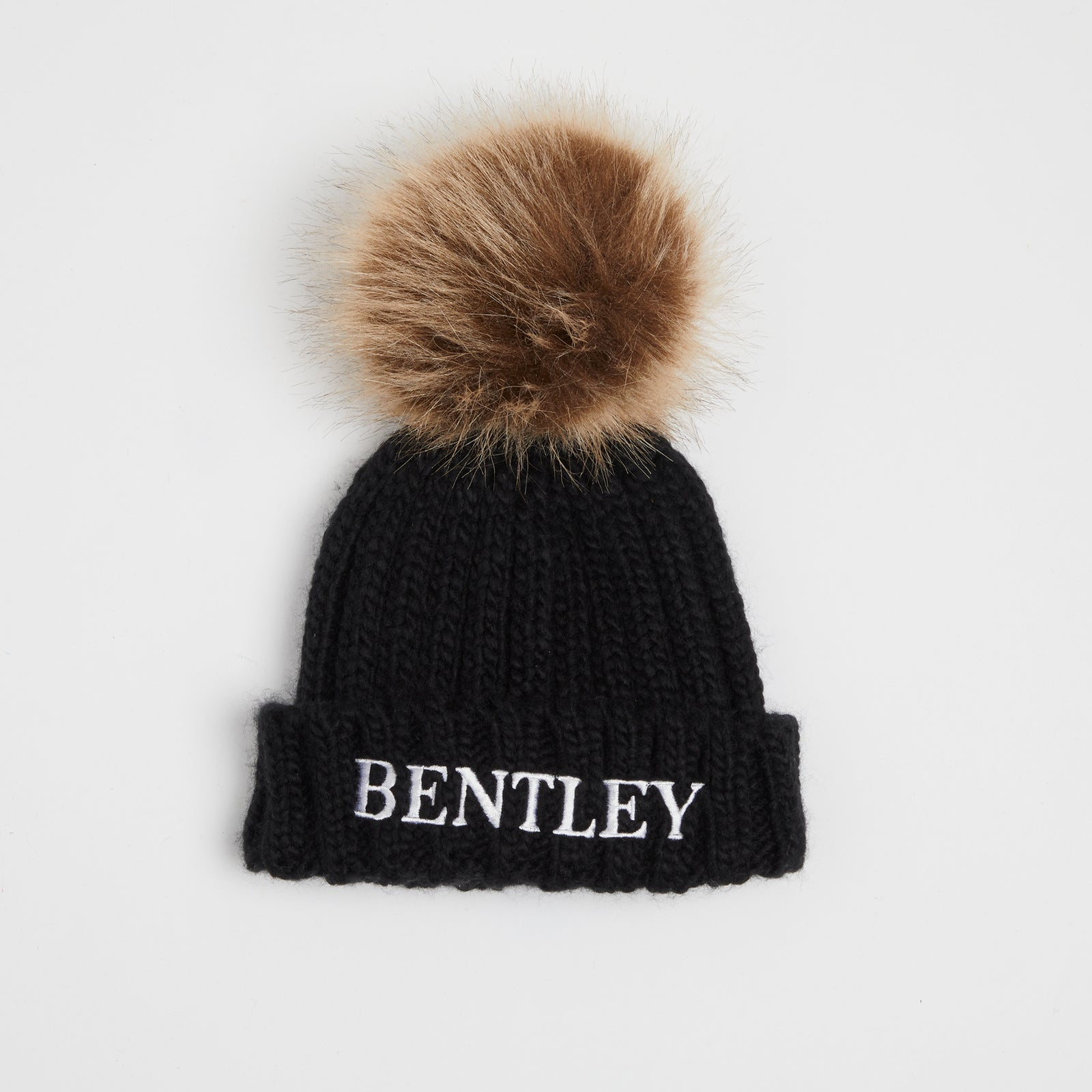 Embroidered Black Pom Pom Hat