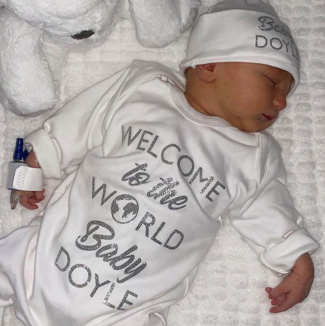 Welcome To The World Babygrow Hat Set