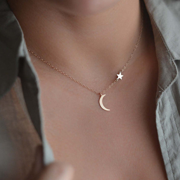 Simple Star Moon Necklace