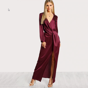Angelina Sexy Satin Burgundy Party Dress