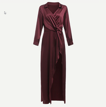 Load image into Gallery viewer, Angelina Sexy Satin Burgundy Party Dress