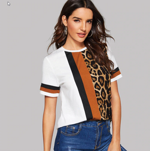Savana Color Block And Leopard Top