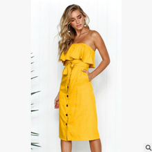 Load image into Gallery viewer, tube top ruffled button dress summer solid color