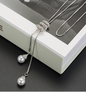 Long Simple Pearl Pendant