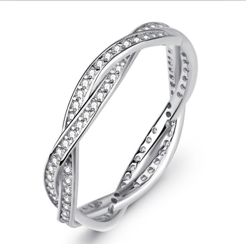 Twinned Silver Ring with Diamonds