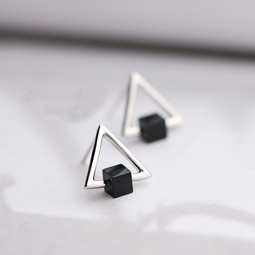 S925 Geometric Triangle Black Earring