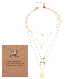 Moon disc pendant multi-layer necklace