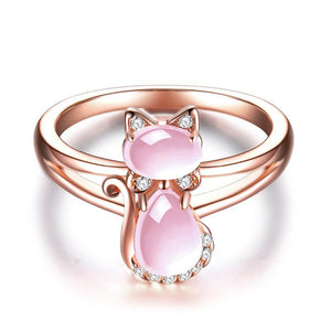 Pink Quartz Crystal Rose Gold Plated Rhinestone Cat Ring