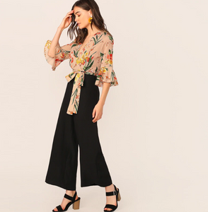 Lisa Wide Leg Jumpsuit with Floral Print