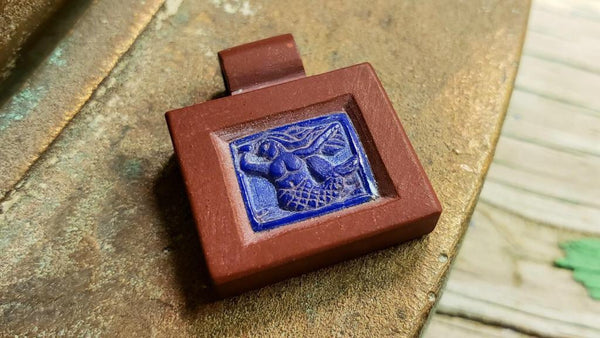 Hand carved pipestone and lapis mermaid pendant