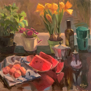 Original oil painting of objects on a kitchen counter under morning sunlight. Watermelon slice, eggs and flowers with an assortment of cups and a coffee maker. Oil on Canvas, 16 by 16 inches, 2020.