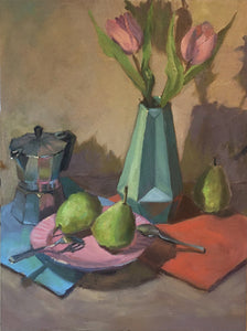 Original Oil Painting - Tulips and Pears