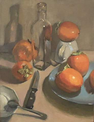 Large Still Life Painting - Persimmon Party!