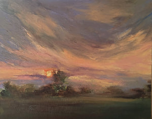 Origial Oil Painting - Sunrise from my window