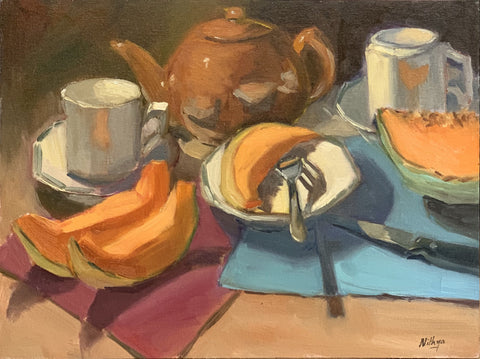 Large Still Life - Cantaloupes and Tea