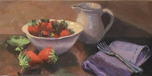 Original Oil Painting - Strawberries and Cream