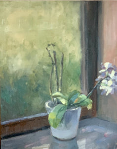 Original Oil Painting - Orchid by my window